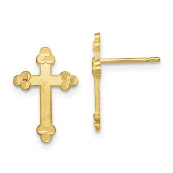 10k Budded Cross Earring