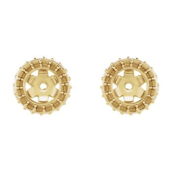 18K Yellow 4 mm Round Earring Jacket Mounting
