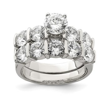 Sterling Silver Rhodium Plated 2-Piece CZ Wedding Set Ring