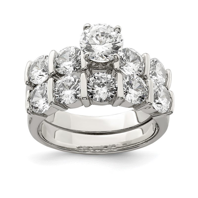 Quality Gold Sterling Silver Rhodium Plated 2-Piece CZ Wedding Set Ring