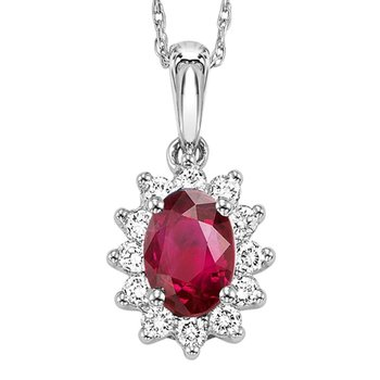 14K Ruby & Diamond Pendant