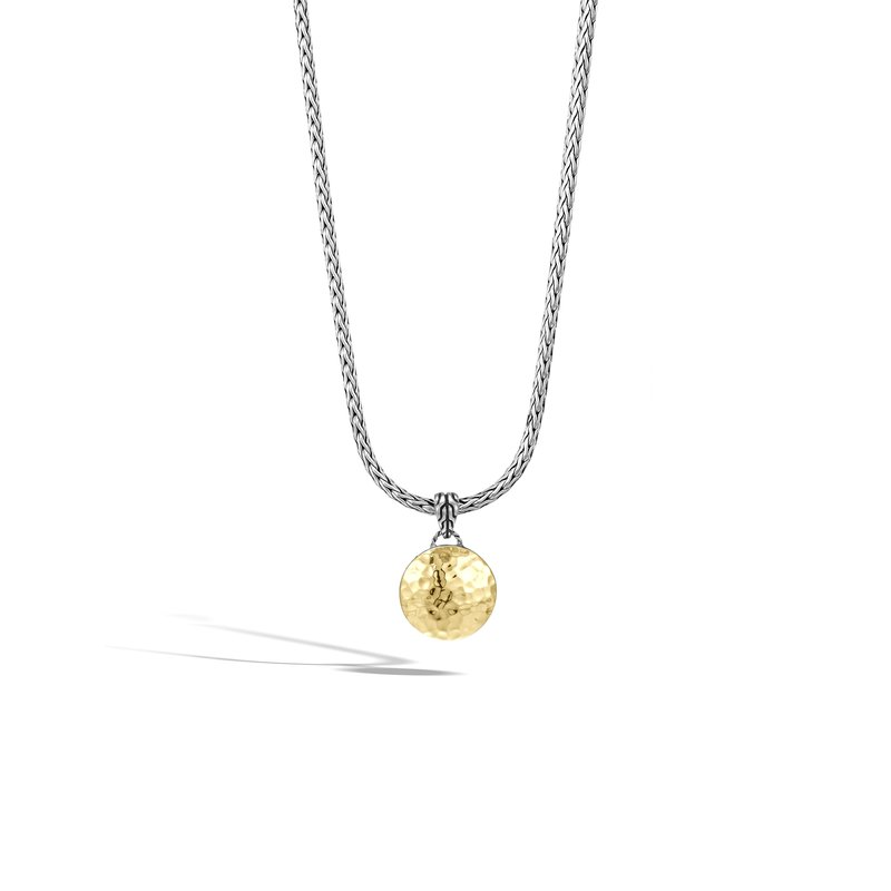 JOHN HARDY Dot Hammered Reversible Pendant Necklace, Silver, 18K Gold