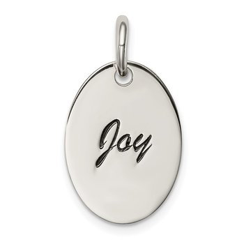 Sterling Silver Polished Enamel Joy Pendant