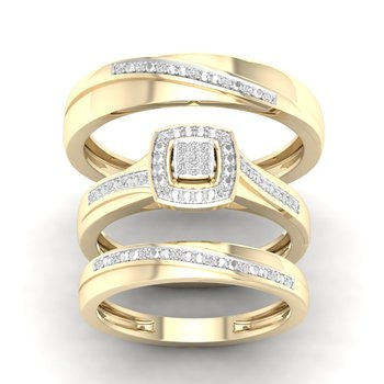 10K 0.08Ct Diam Trio Set