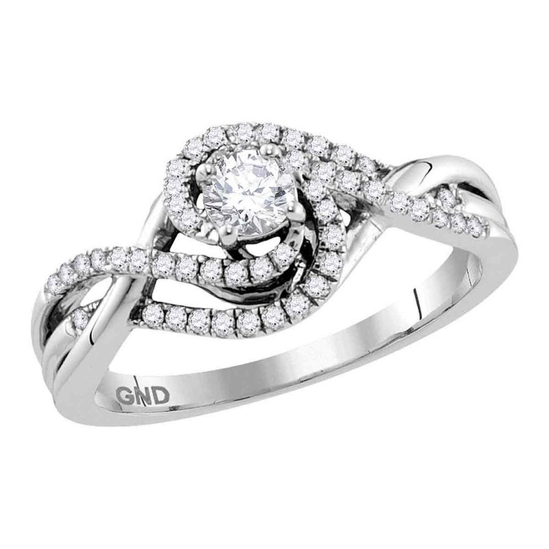 Gold-N-Diamonds, Inc. (Atlanta) 14kt White Gold Womens Round Diamond Solitaire Swirl Crossover Bridal Wedding Engagement Ring 1/2 Cttw