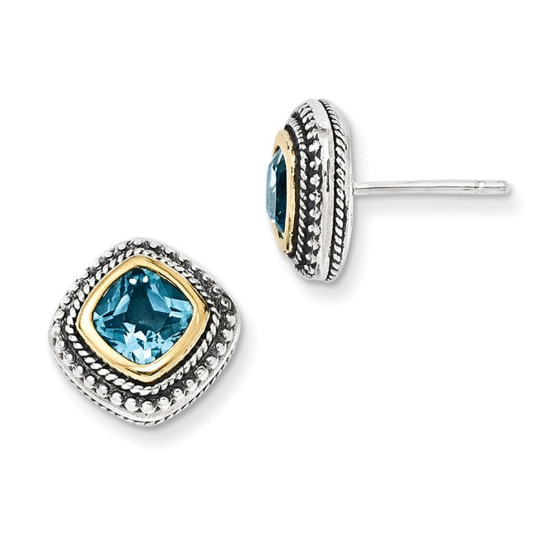 Shey Couture Sterling Silver w/14k Blue Topaz Earrings