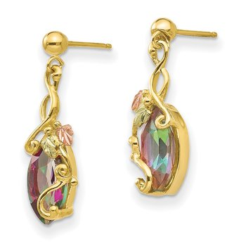 10k Tri-color Black Hills Gold Mystic Topaz Post Dangle Earrings