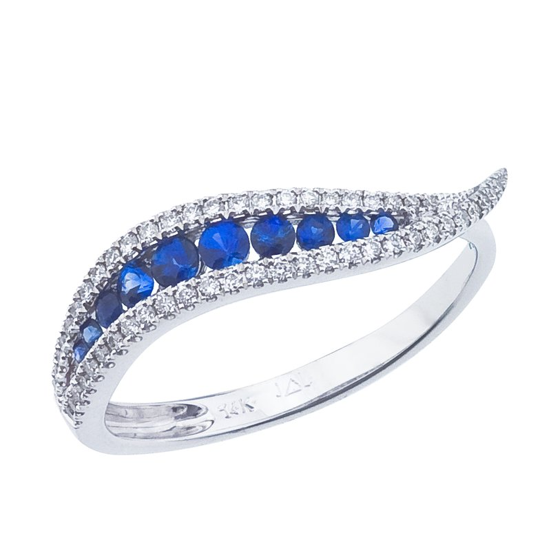Color Merchants 14k White Gold Sapphire and Diamond Wave Ring