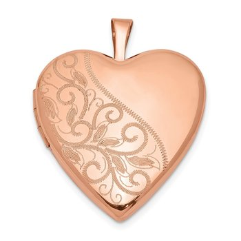 Sterling Silver Rose Gold-plated 20mm Swirl & Polished Heart Locket