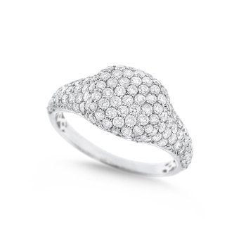 Diamond Fashion Ring in 14K White Gold with 126 Diamonds Weighing 1.19ct tw
