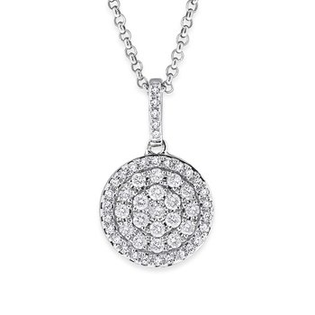 Diamond Small Pave Disc Necklace in 14K White Gold with 50 Diamonds Weighing  .29ct tw