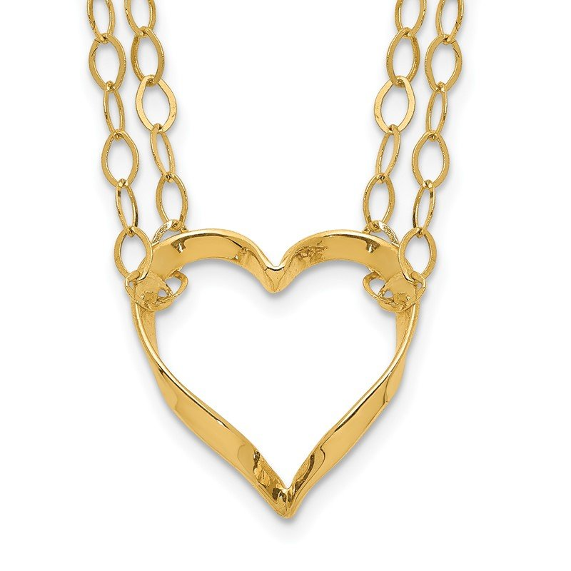 Quality Gold 14K Adjustable Double Strand Heart Necklace