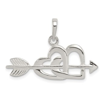 Sterling Silver Polished Heart and Arrow Pendant