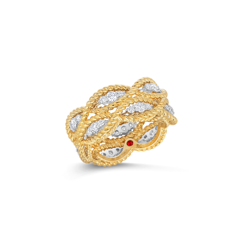 Roberto Coin 18KT GOLD 2 ROW RING WITH DIAMONDS