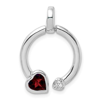 Sterling Silver Garnet & Diamond Hearts in Circle Pendant