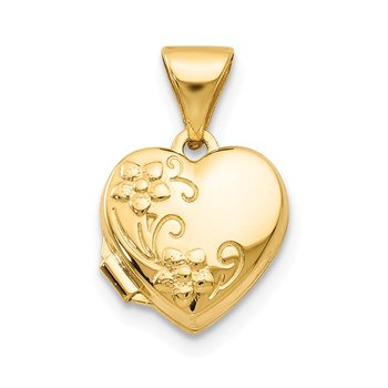 14k Yellow Gold Floral Heart Locket