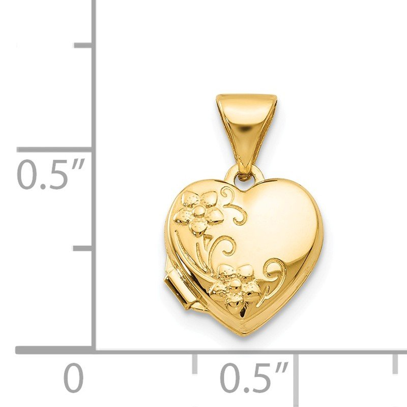 Quality Gold 14k Yellow Gold Floral Heart Locket
