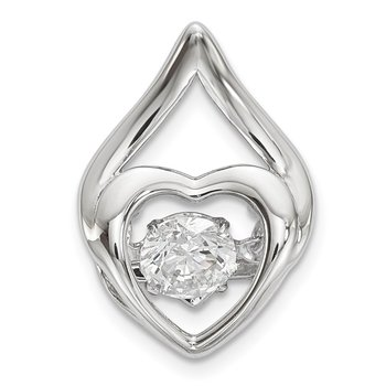Sterling Silver Platinum Plated Vibrant Swaro Zirconia Heart Chain Slide