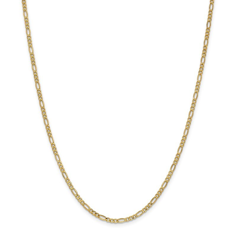 14k 2.5mm Semi-Solid Figaro Chain Anklet