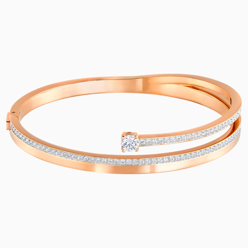 Swarovski Fresh Bangle, White, Rose-gold tone plated