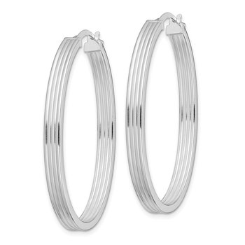 Sterling Silver RH-plated Polished Striped 4mm Oval Hoops
