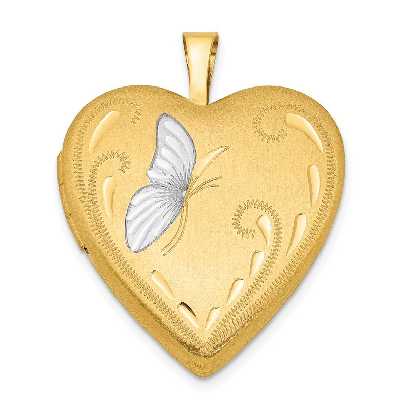 Quality Gold 1/20 Gold Filled & Rhodium Butterfly 19mm Heart Locket