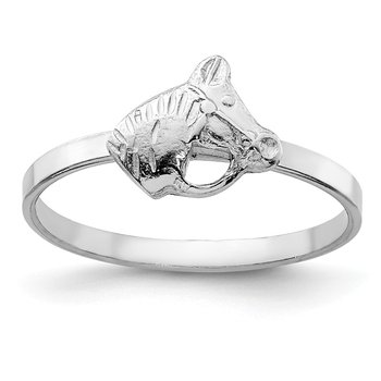 Sterling Silver RH Plated Child's Polished Horse Ring