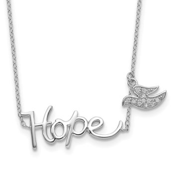 Sterling Silver Rhodium-plated HOPE w/CZ Dove Charm Necklace