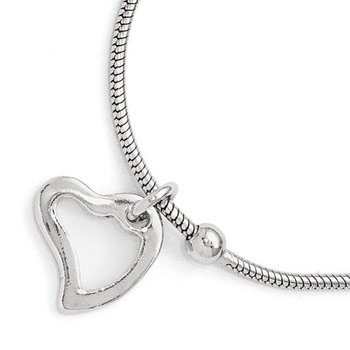 Leslie's Sterling Silver Polished Heart w/1in ext. Anklet