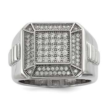 Sterling Silver Brilliant Embers Rhodium-plated CZ Polished Men's Ring