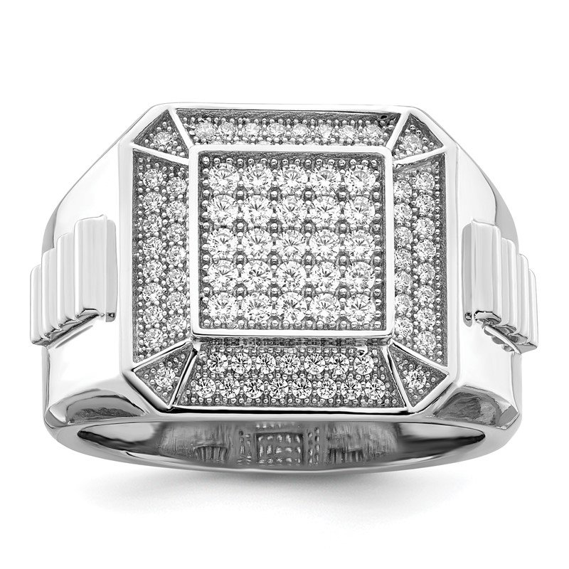 Quality Gold Sterling Silver Brilliant Embers Rhodium-plated CZ Polished Men's Ring