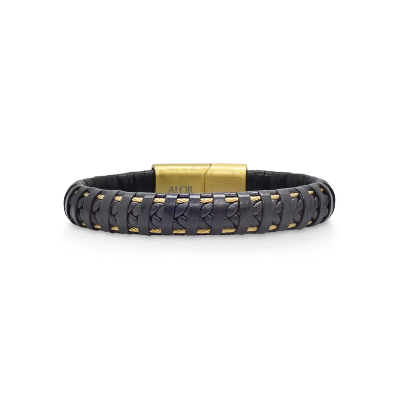ALOR Black Leather Wrapped Bracelet with Yellow Clasp