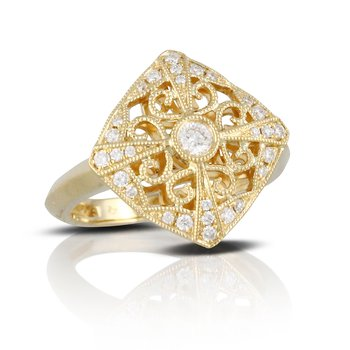 Openwork Vintage Diamond Ring 18KY