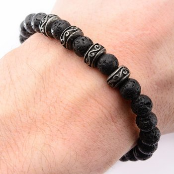 8mm Black Lava Beads Bracelet