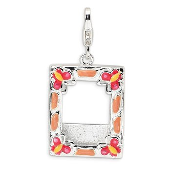 Sterling Silver 3-D Enameled Photo Frame w/Lobster Clasp Charm