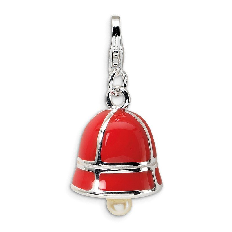 Quality Gold Sterling Silver FW Cultured Pearl Red Enamel Bell w/Lobster Clasp Charm