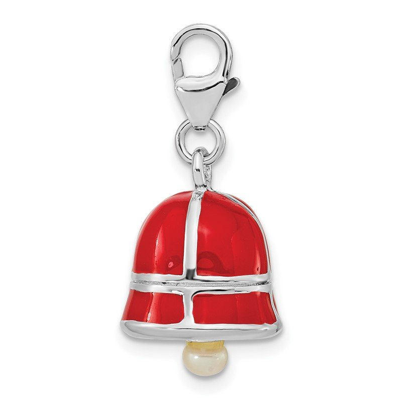 Quality Gold SS RH FW Cultured Pearl Red Enamel Bell w/Lobster Clasp Charm