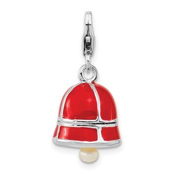 SS RH FW Cultured Pearl Red Enamel Bell w/Lobster Clasp Charm