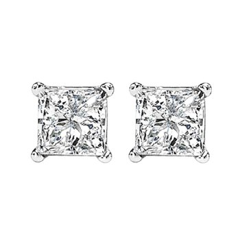 14K P/Cut Diamond Studs 1 1/4 ctw P3
