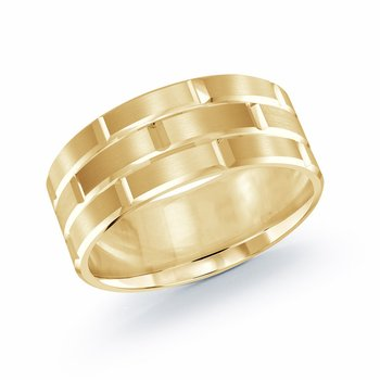 Trendy 9mm all yellow gold brick motif satin finish band with high polished grooved accents