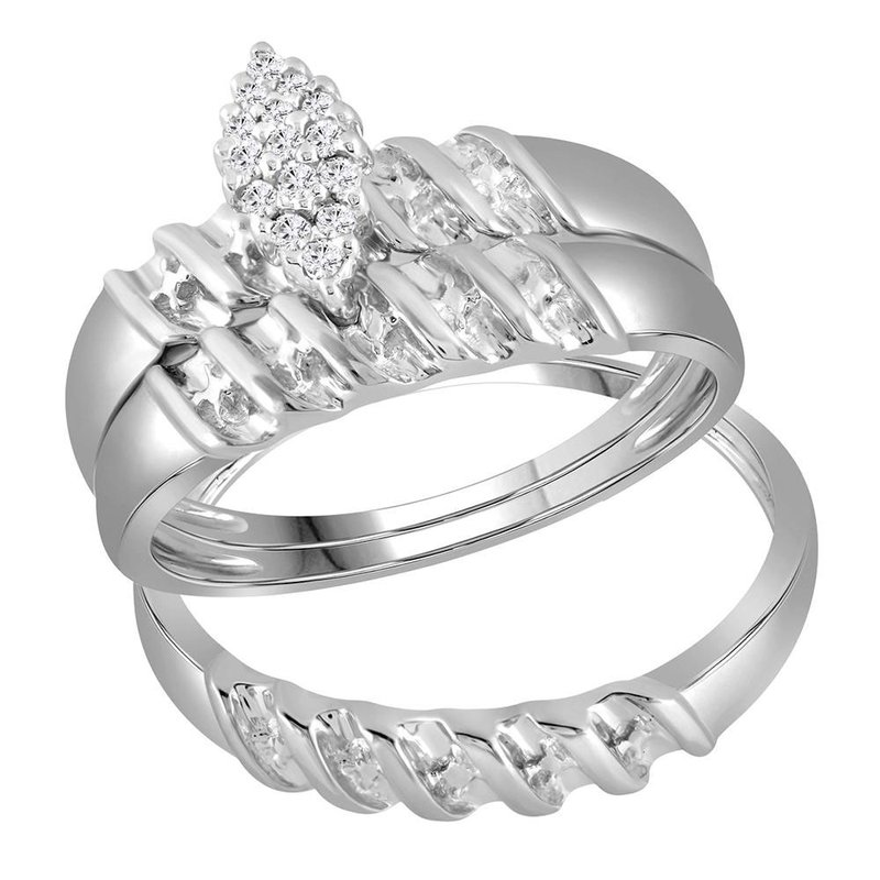 Kingdom Treasures 14kt White Gold His & Hers Round Diamond Cluster Matching Bridal Wedding Ring Band Set 1/10 Cttw