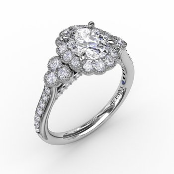 Scalloped Halo Engagement Ring With Diamond Clusters and Milgrain Details