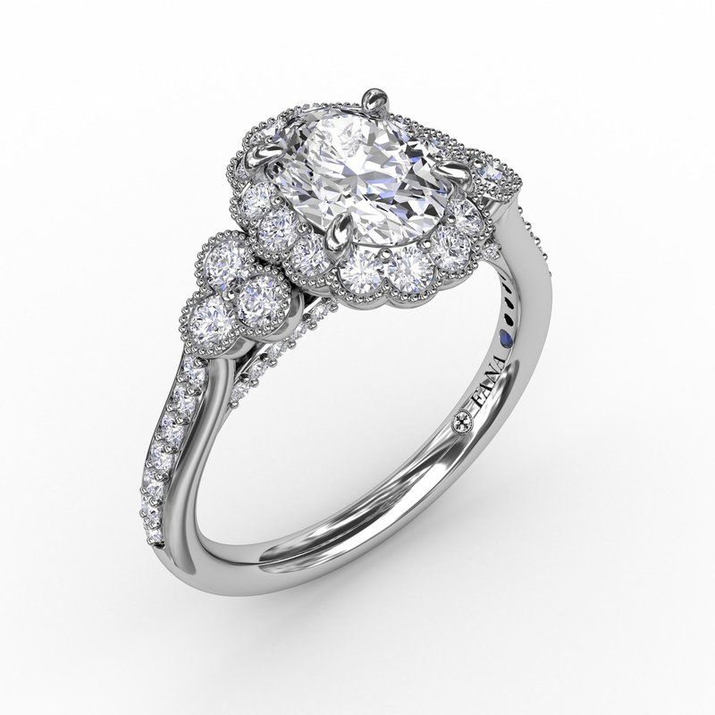 Fana Scalloped Halo Engagement Ring With Diamond Clusters and Milgrain Details