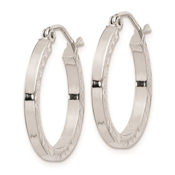Sterling Silver Rhodium-plated Diamond-cut 2x20mm Square Tube Hoop Earrings