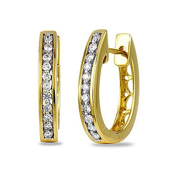 14K YG Diamond Oval Hoops Ear-rings Channel Prong