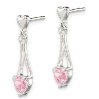 Sterling Silver Polished Pink CZ Heart Post Dangle Earrings