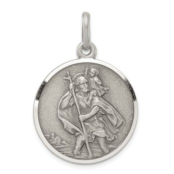 Sterling Silver Antiqued St. Christopher Medal
