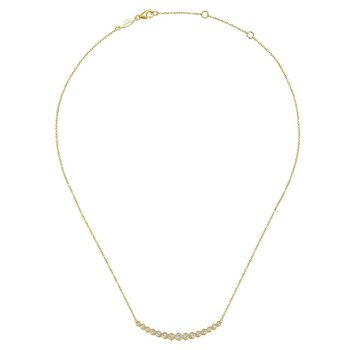 14K Yellow Gold Graduated Round Bezel Set Diamond Curved Bar Necklace