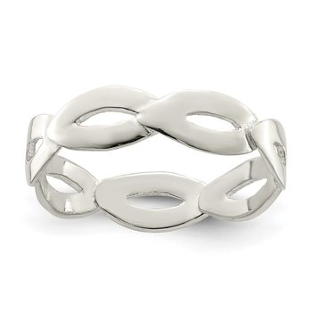 Sterling Silver Polished Wavy Ring