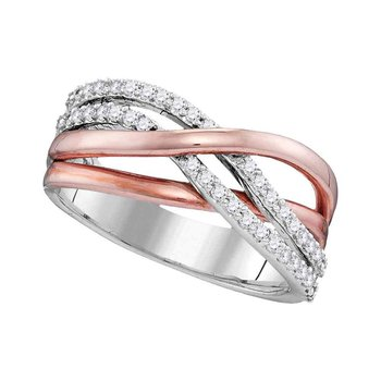 10kt White Gold Rose-tone Womens Round Diamond Crossover Band Ring 1/3 Cttw